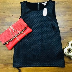 Banana Republic Woven Black Tank Top NWT Sz M